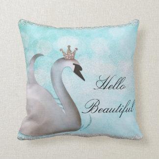 Swan Princess Faux Gold Glitter Fairy Tale Custom Throw Pillow