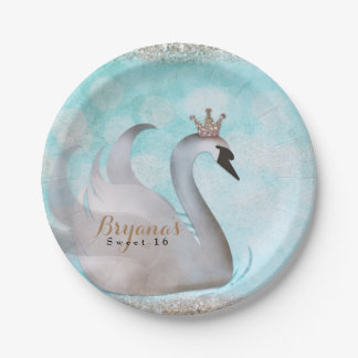 Swan Princess Glitter Fairy Tale Birthday Party 7 Inch Paper Plate