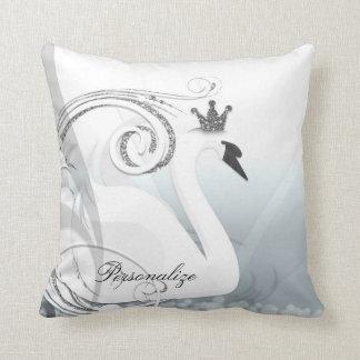 Swan Princess Silver & White Elegant Custom Chic Throw Pillow