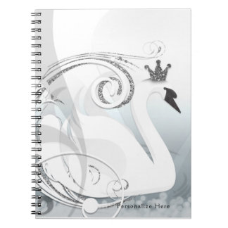Swan Princess Silver & White Elegant Custom Notebooks