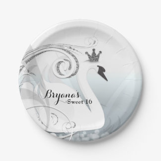 Swan Princess Silver & White Elegant Custom Party 7 Inch Paper Plate