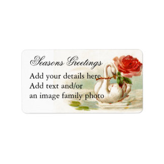 Swan Rose Art Personalized Address Address Label