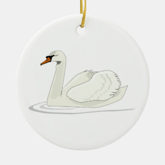 Swan Round Ceramic Decoration