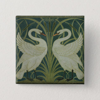 'Swan, Rush and Iris' wallpaper design 15 Cm Square Badge
