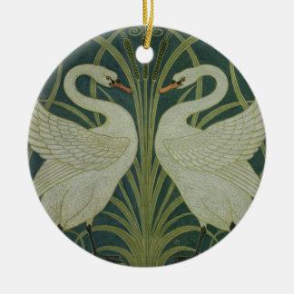 'Swan, Rush and Iris' wallpaper design Christmas Ornament