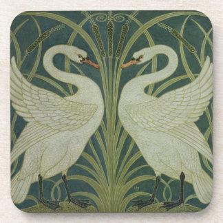'Swan, Rush and Iris' wallpaper design Coaster