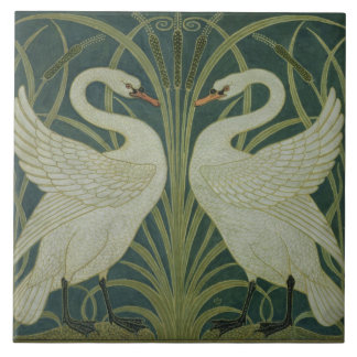 'Swan, Rush and Iris' wallpaper design Large Square Tile