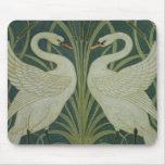 'Swan, Rush and Iris' wallpaper design Mouse Pad