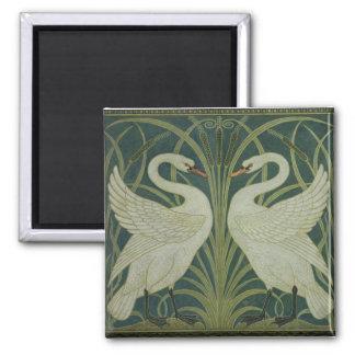 'Swan, Rush and Iris' wallpaper design Square Magnet