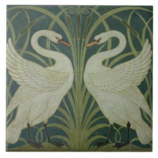 'Swan, Rush and Iris' wallpaper design Tile