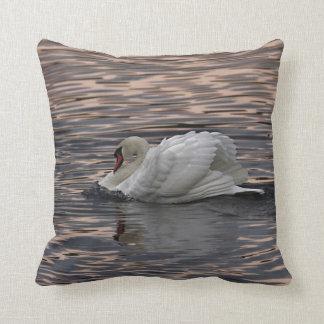 Swan Swimming at Sunset Throw Pillow