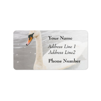 Swan Swimming In A Lake, Animal Photograph Address Label