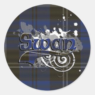 Swan Tartan Grunge Classic Round Sticker