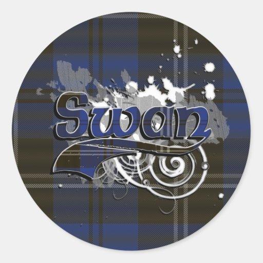 Swan Tartan Grunge Stickers