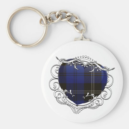 Swan Tartan Heart Basic Round Button Key Ring