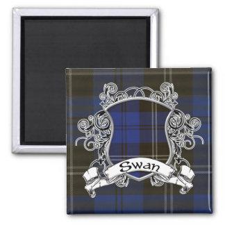 Swan Tartan Shield Square Magnet