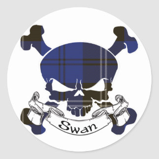 Swan Tartan Skull Round Sticker