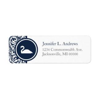 Swan Theme Navy Damask Return Address Labels