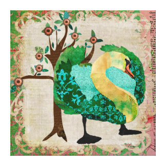 Swan Tropical Story Canvas Gallery Wrapped Canvas
