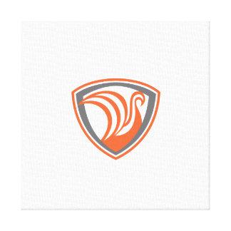 Swan Viking Ship Shield Retro Gallery Wrapped Canvas