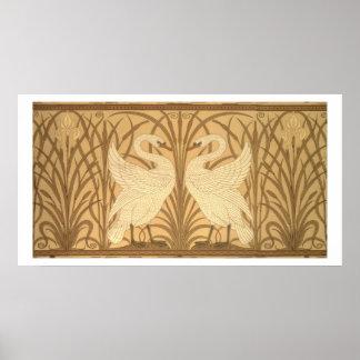 Swan wallpaper design poster