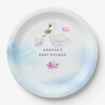 Swan Watercolor Baby Shower Paper Plate
