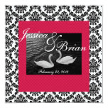 "Swan Wedding or Engagement  Invitations  Damask Re 5.25"" Square Invitation Card"