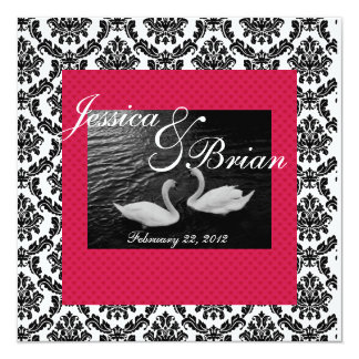 Swan Wedding or Engagement  Invitations  Damask Re