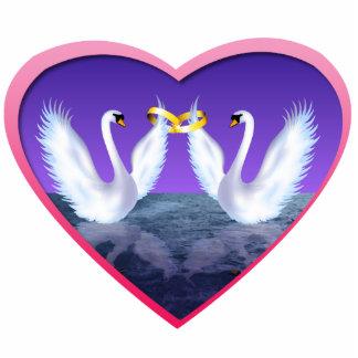 Swan Wedding Photo Sculpture Badge
