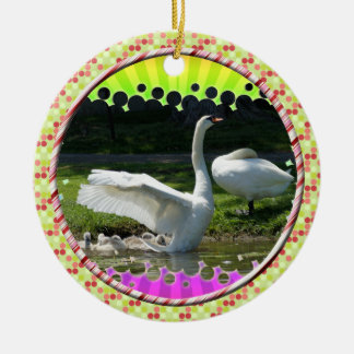 SWAN WINGS SPREAD WIDE WITH FAMILY ROUND CERAMIC DECORATION