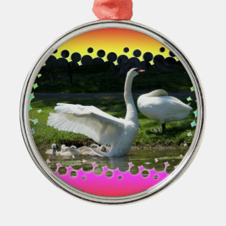SWAN WINGS SPREAD WIDE WITH FAMILY Silver-Colored ROUND DECORATION