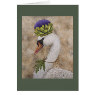 Swan with artichoke and rosemary greeting card