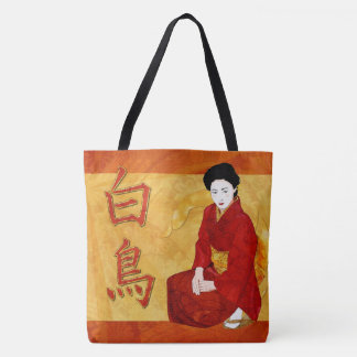SwanGeisha Japanese Folk Art Tote Bag