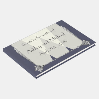 Swanky Art Deco in Blue Guest Book