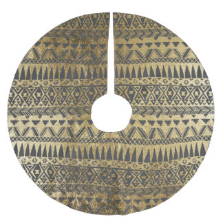Swanky Faux Gold and Black Hand Drawn Aztec Brushed Polyester Tree Skirt
