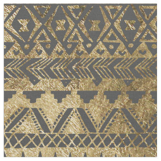 Swanky Faux Gold and Black Hand Drawn Aztec Fabric