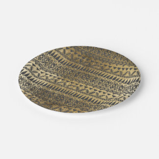 Swanky Faux Gold and Black Hand Drawn Aztec Paper Plate