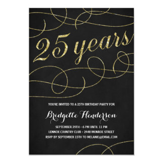 Swanky Faux Gold Foil 25th Birthday Card