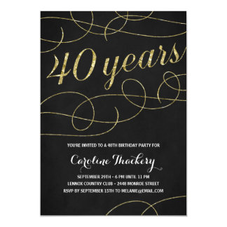 Swanky Faux Gold Foil 40th Birthday Party 13 Cm X 18 Cm Invitation Card