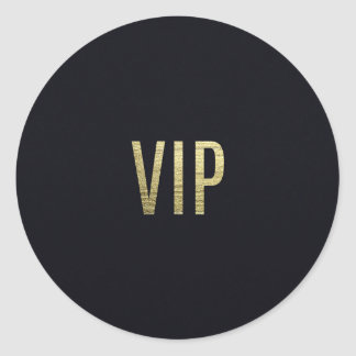 "Swanky Faux Gold Leaf Foil ""VIP"" Typography Classic Round Sticker"