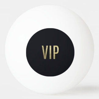 """Swanky Faux Gold Leaf Foil """"VIP"""" Typography Ping Pong Ball"""