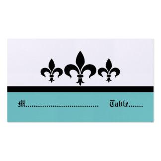 Swanky Fleur De Lis Place Card, Aqua Pack Of Standard Business Cards