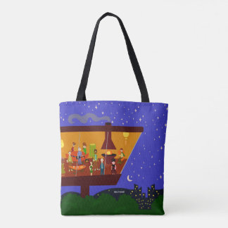 Swanky Hillside Party Illustration Tote Bag