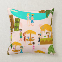 Swanky Pool Party Illustration Cushion