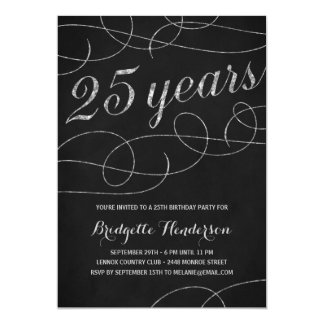 Swanky Silver 25th Birthday Party 13 Cm X 18 Cm Invitation Card