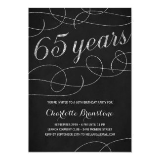 Swanky Silver 65th Birthday Party Card