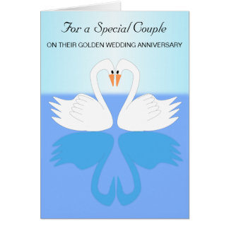 Swans 50th Wedding Anniversary Greeting Card