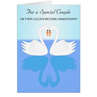 Swans 50th Wedding Anniversary Greeting Card