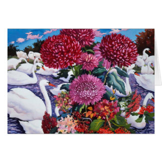 Swans and Chrysanthemums 2005 Card