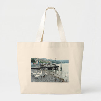 Swans and ducks in Lake Lucerne Canvas Bags